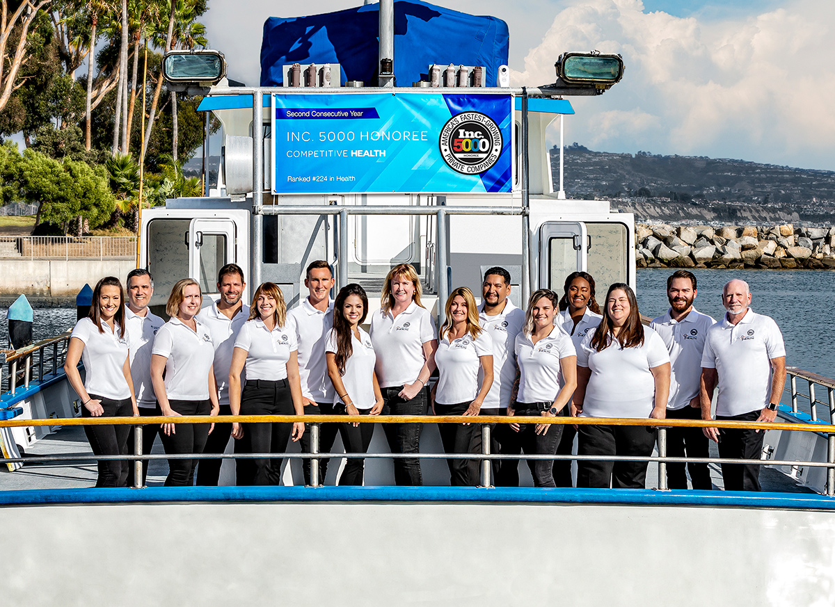 Competitive Health Team Photo on a Boat in California