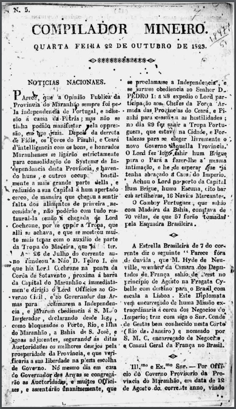 Compilador Mineiro nº 5 - Ano: 1823