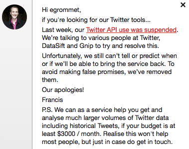 ScraperWiki loses access to Twitter API