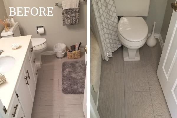 white vanity bathroom before