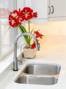 modern blue kitchen faucet