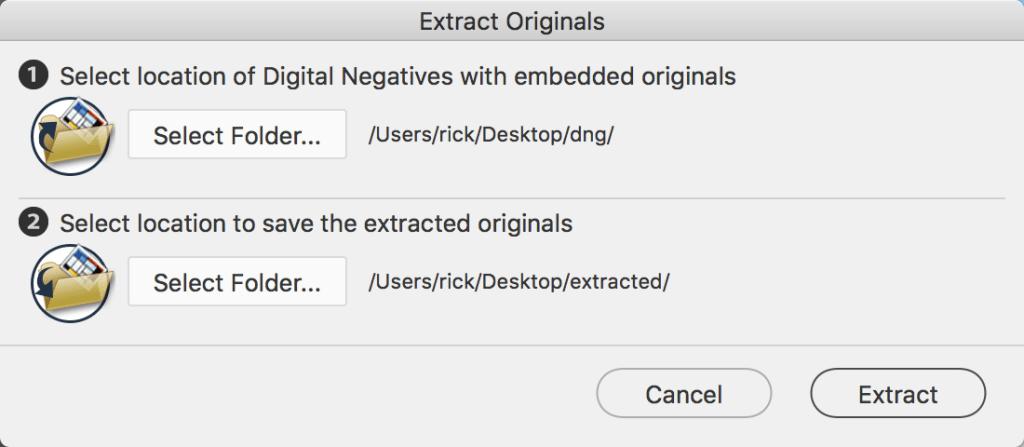 DNG Converter Extract Originals Window