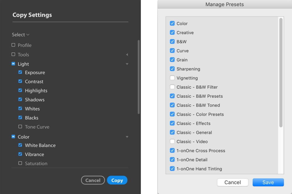 Edit settings and preset management inside Lightroom.
