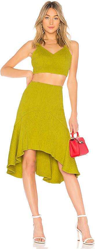 two-piece-matching-set-chartreuse-midi-skirt-halter