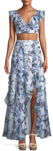 two-piece-matching-set-floral-maxi-skirt-ruffles