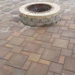 Firepit with patio and walkway