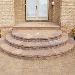 custom paver steps with porch