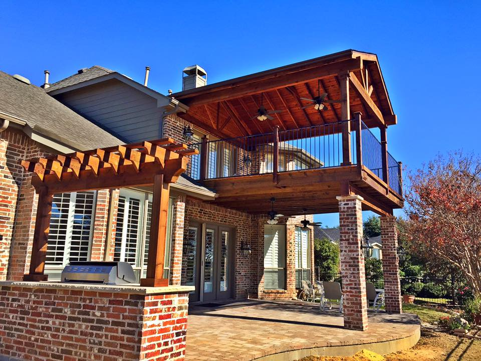 double decker upper lower patio with