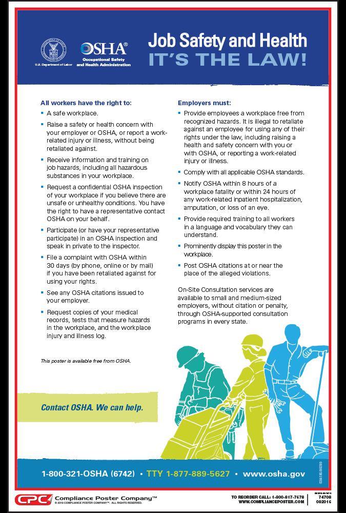 federal osha job safety and health poster