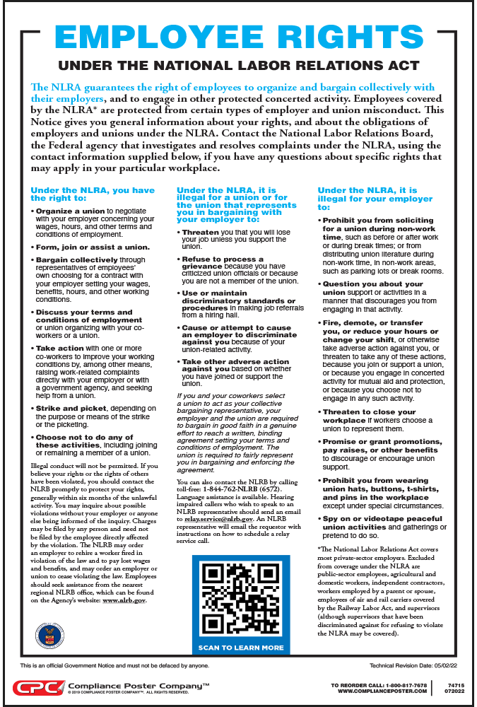employee rights under the national labor relations act nlra poster