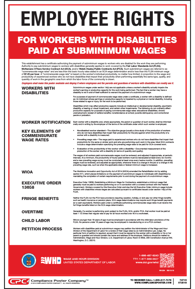 employee rights for workers with disabilities paid at subminimum wages poster