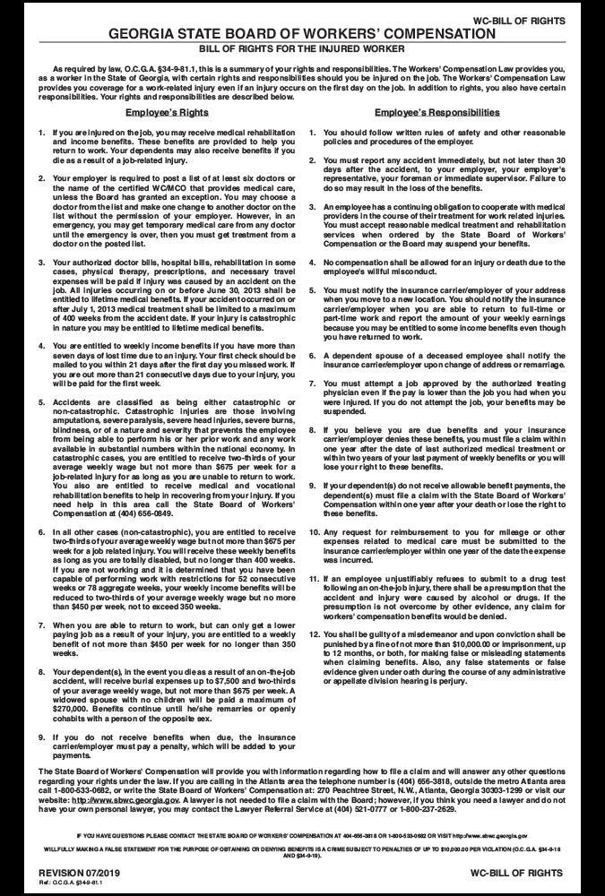 georgia 2019 workers comp bill of rights peel n post