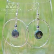 pewter purple multi color freshwater pearl earrings