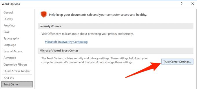 trust center settings di word