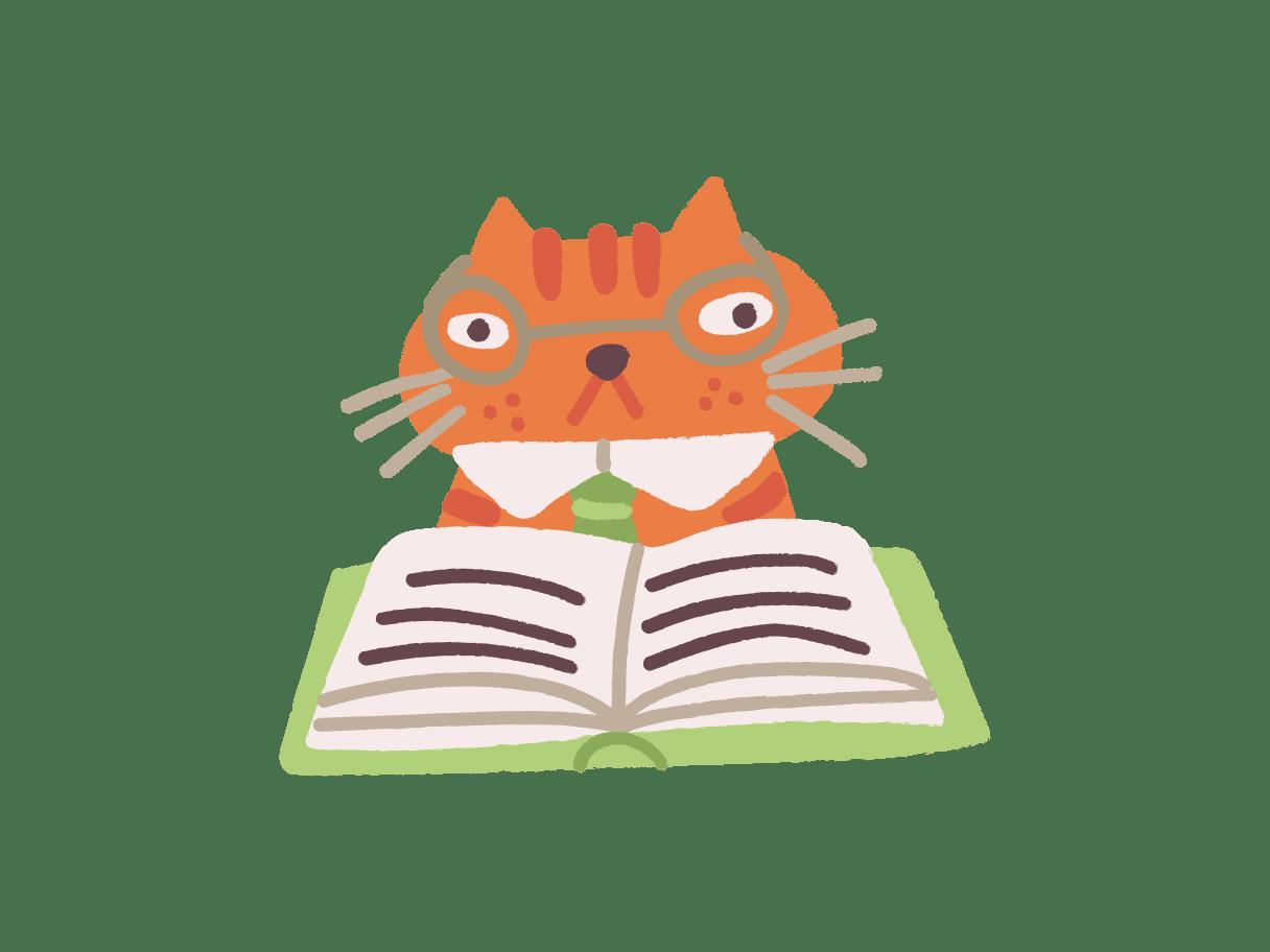 Cette illustration représente un chat roux qui lit un livre pour mieux comprendre ce qu'un consultant offre comme conseil en comportement