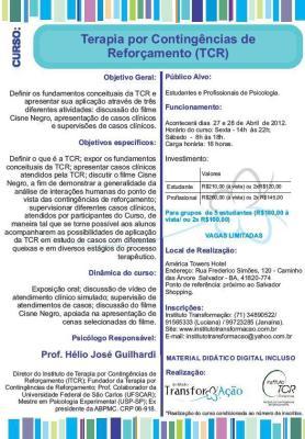 Curso de Terapia por Contingências de Reforçamento (TCR) com o prof. Hélio Guilhardi - Salvador/BA 5