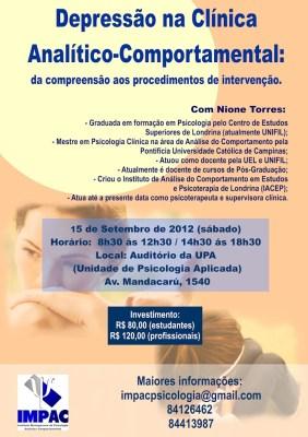 Curso no IMPAC - Depressão na Clínica Analítico-Comportamental - Maringá/PR 5