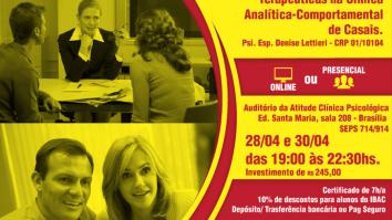 Sorteio de uma inscrição no curso: Aprimoramento e Desenvolvimento de Habilidades e Competências Terapêuticas na Clínica Analítica-Comportamental de Casais. 11