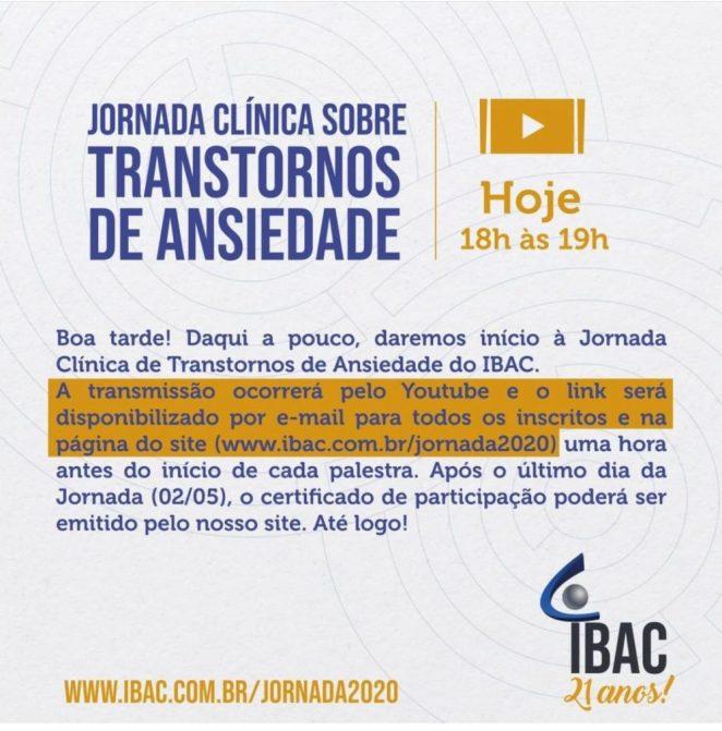 Jornada Clínica sobre Transtornos de Ansiedade - IBAC 1