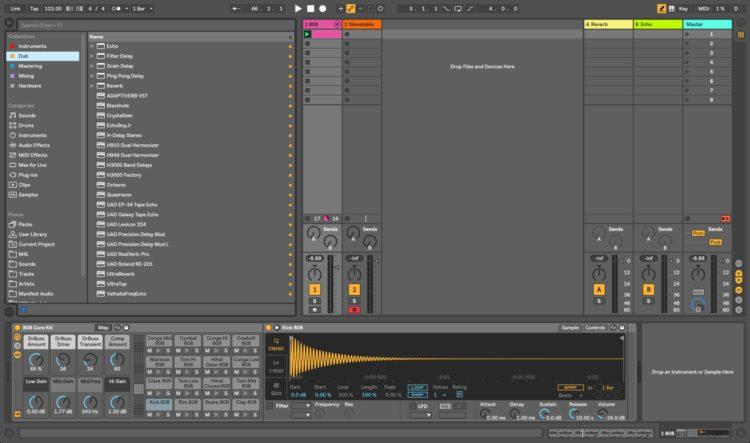 Interface de Ableton Live 10