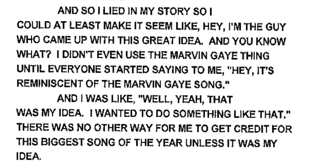 "Another quote from Robin Thicke regarding the fabricated story of ""Blurred Lines"" creation"