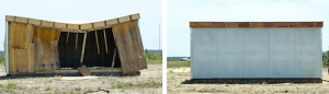 Photo of conventional vs blast resistant modular construction after a truck bomb.