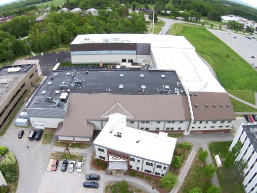 Aerial view of the UMaine Composites Center in 2015 following addition of Alfond labs. The Alfond labs are shown on the top left.
