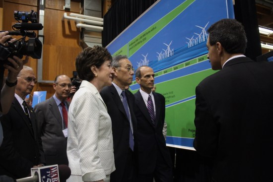 Senator Susan M. Collins, U.S. Secretary of Energy Stephen Chu, and Governor John Baldacci discuss the future of offshore wind energy with Dr. Habib Dagher during an August 2010 visit.