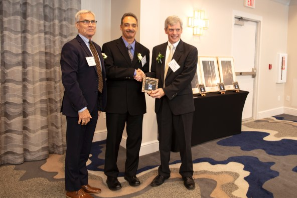 Dr. Dagher receives the 2019 Transportation Champion award from the Maine Better Transportation Association (MBTA) on Oct 4, 2019. Presenting the award to Dr. Dagher is MBTA President, Paul Bradbury (right) and Brit Svoboda (left), chairman and CEO, AIT Bridges.