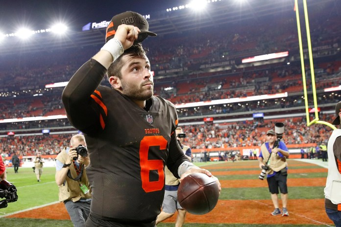 """CLEVELAND, OH-SEPTEMBER 20: Cleveland Browns baker Mayfield # 6 runs off the field after a 21-17 victory over the New York Jets at FirstEnergy Stadium on September 20, 2018 in Cleveland, Ohio. (Photo by Joe Robbins / Getty Images) """"srcset ="""" https://compote.slate.com/images/075d07c5-b7c9-48a2-8c8d-4111497dc1a6.jpeg?width=780&height=520&rect=3000x2000&offset=0x0 1x, https: //compote.slate.com/images/075d07c5-b7c9-48a2-8c8d-4111497dc1a6.jpeg?width=780&height=520&rect=3000x2000&offset=0x0 2x"""