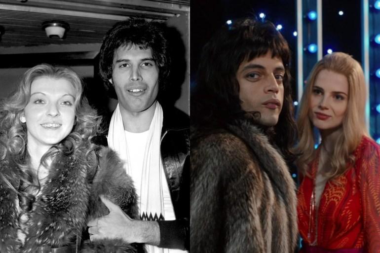 """Freddie Mercury und Mary Austin, im wirklichen Leben und im Film. """"Srcset ="""" https://compote.slate.com/images/13fe26bb-46f0-4ca7-a076-8f26c1c12dad.jpeg?width=780&height=520&rect=1560x1040&offset= 0x0 1x, https://compote.slate.com/images/13fe26bb-46f0-4ca7-a076-8f26c1c12dad.jpeg?width=780&height=520&rect=1560x1040&offset=0x0 2x"""
