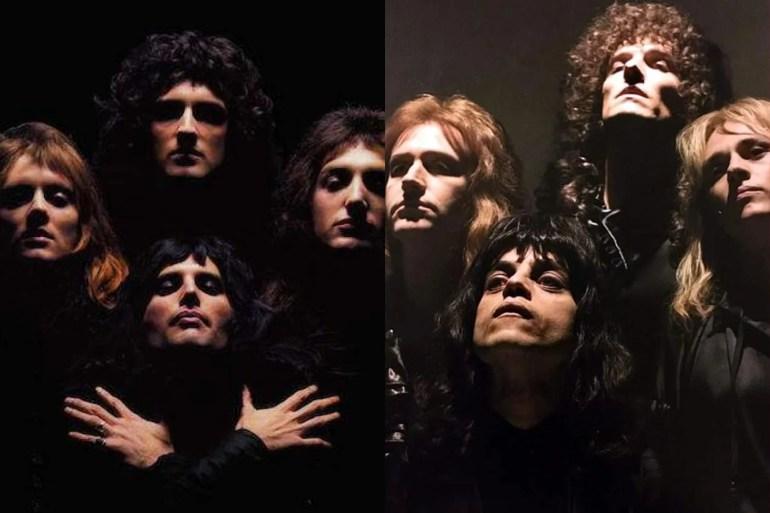 "Die Band im Bohemian Rhapsody Video, im wirklichen Leben und im Film. ""Srcset ="" https://compote.slate.com/images/3022248a-5897-49d9-bf16-7bdbfc9f6615.jpeg?width=780&height=520&rect= 1560x1040 & Offset = 0x0 1x, https://compote.slate.com/images/3022248a-5897-49d9-bf16-7bdbfc9f6615.jpeg?width=780&height=520&rect=1560x1040&offset=0x0 2x"
