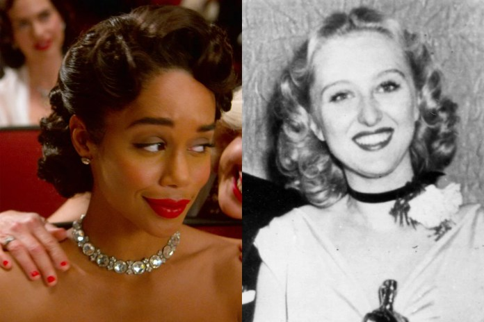 Both are glamorous, their hair in curls and necklaces around their necks.
