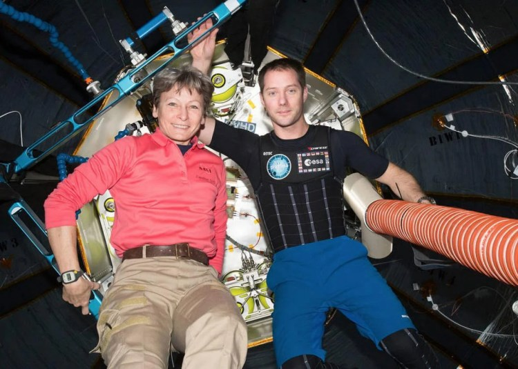 NASA astronaut Peggy Whitson and European Space Agency astronaut Thomas Pesquet.