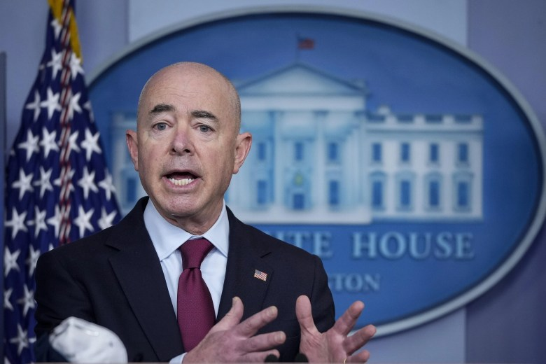 Secretary of Homeland Security Alejandro Mayorkas speaks during the daily press briefing at the White House on March 1, 2021 in Washington, D.C.
