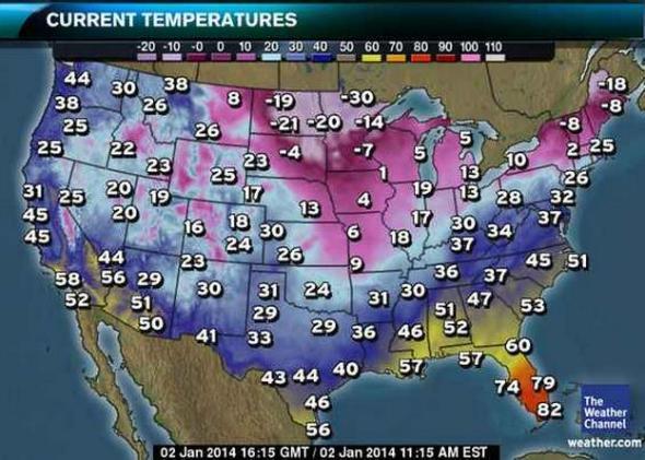 Todays Map Temperature