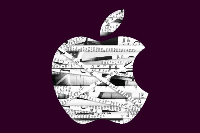The Apple logo with shreds of newspaper lying within