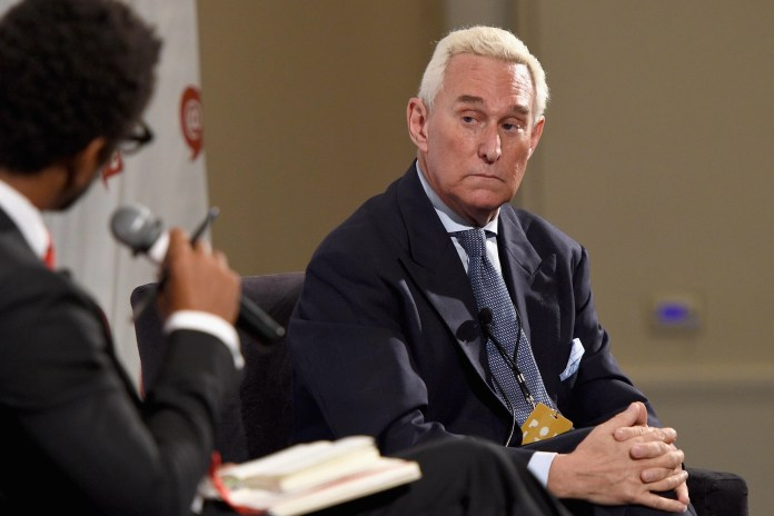 "Roger Stone looks cautiously at an interviewer holding a microphone. ""Srcset ="" https://compote.slate.com/images/ad88bd8a-c5d8-43e8-aa2f-281e49424449.jpeg?width=780&height=520&rect=3120x2080&offset=0x116 1x, https://compote.slate.com/images /ad88bd8a-c5d8-43e8-aa2f-281e49424449.jpeg?width=780&height=520&rect=3120x2080&offset=0x116 2x"