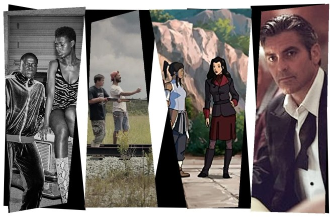 Stills from the movies in a mosaic-style collage: Jodie Turner-Smith and Daniel Kaluuya as Queen and Slim; Shia LaBeouf and Zack Gottsagen in The Peanut Butter Falcon; Korra and Asami in Legend of Korra; George Clooney in Ocean's Eleven.
