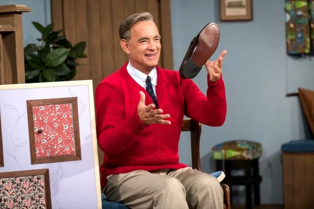 Tom Hanks as Fred Rogers in A Beautiful Day in the Neighborhood.