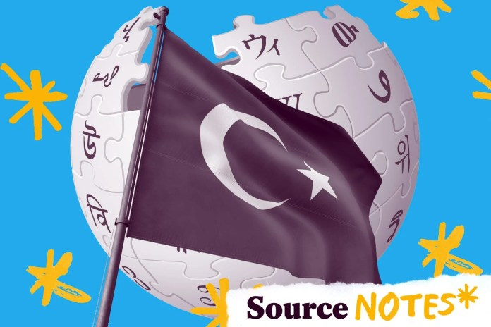 Turkish flag flying in front of the Wikipedia globe logo