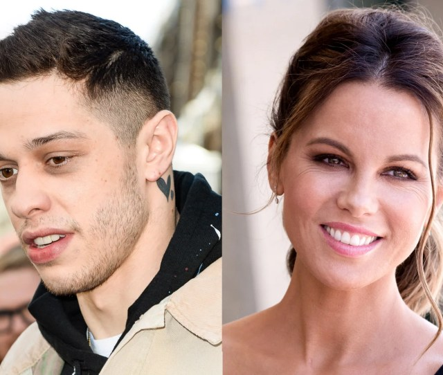 Portraits Of Pete Davidson And Kate Beckinsale Side By Side From The Shoulders Up