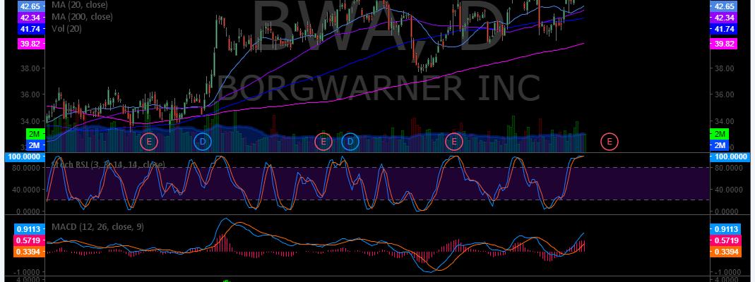 $BWA, Swing trading, chart