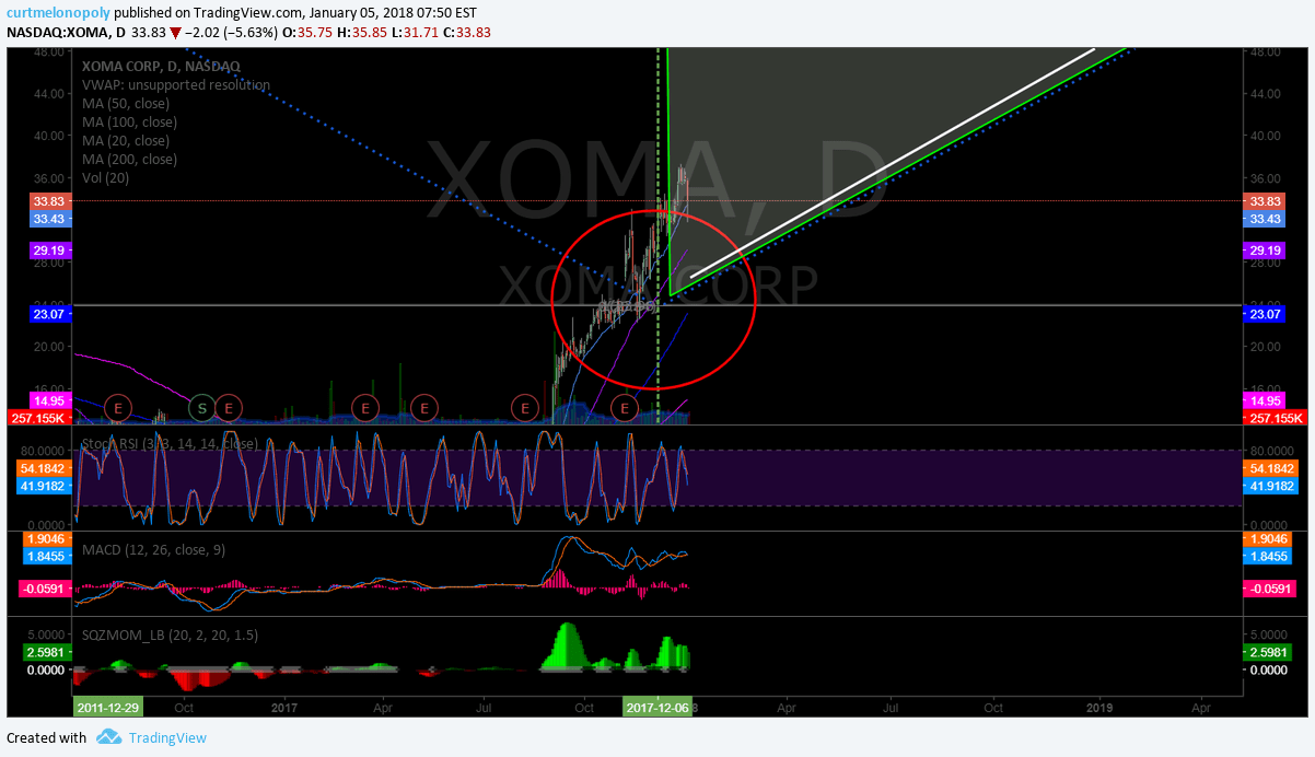$XOMA, swingtrade, daily, chart, symmetry