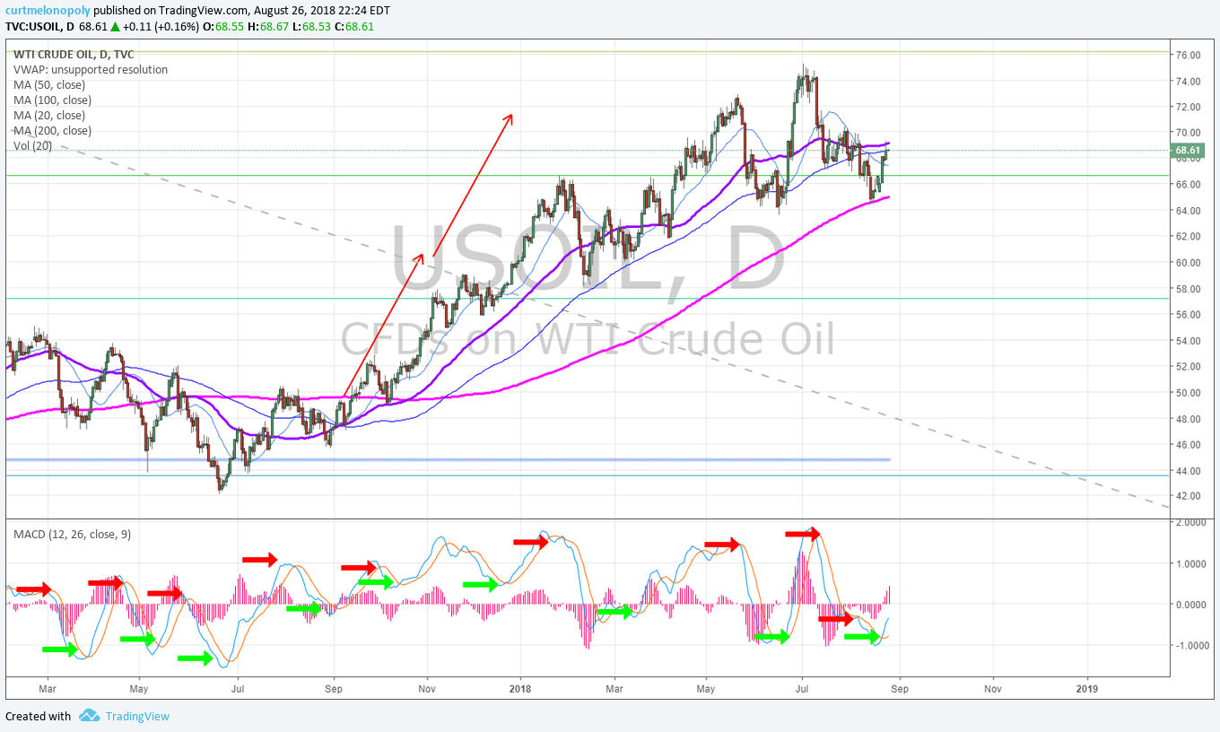 Crude, oil, daily, chart
