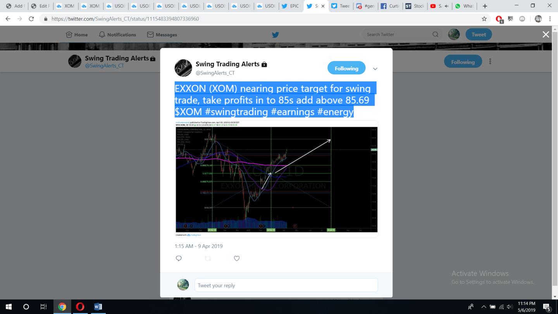 XOM, swing trade, trade, alert