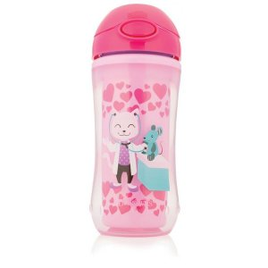 Copo com Canudo Dr Browns 300ml – Rosa