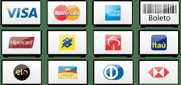Formas de Pagamento - Visa, MasterCard, American Express, Boleto, e muito mais