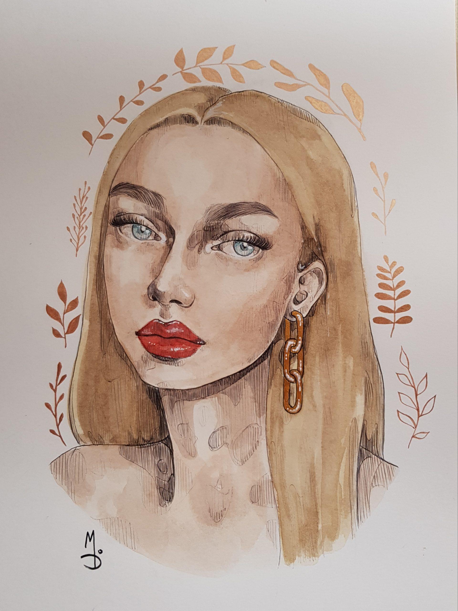 Dibujo de una cara de mujer en acuarela normal y acuarela metalizada
