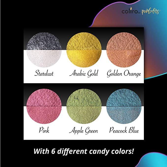 Acuarelas Metalizadas Coliro - Colores Perlados - Muestra de 6 colores